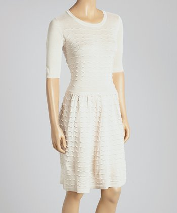 Cream Zigzag Seam Scoop Neck Dress