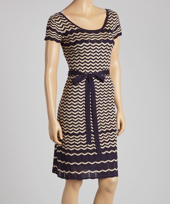 Taupe & Navy Zigzag Knit Scoop Neck Dress