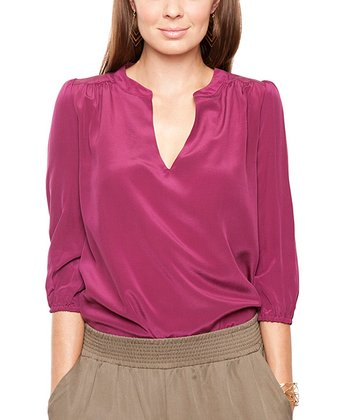 Burgundy Silk Alicia Top