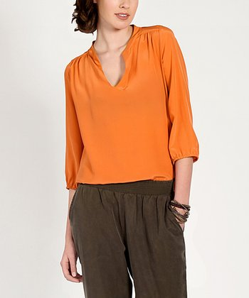 Orange Alicia Silk Top