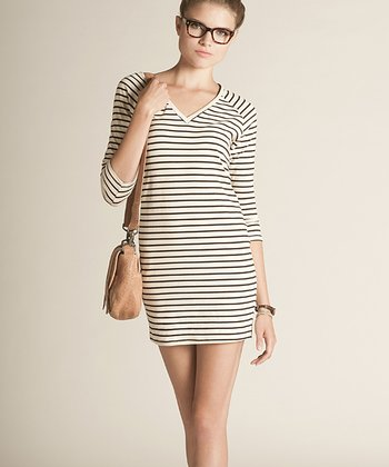 Black & Cream Stripe Cassy Organic Tunic