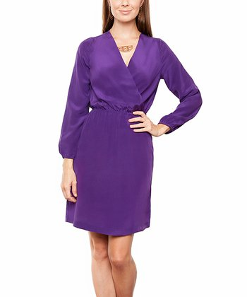 Purple Petunia Karen Silk Faux Wrap Dress
