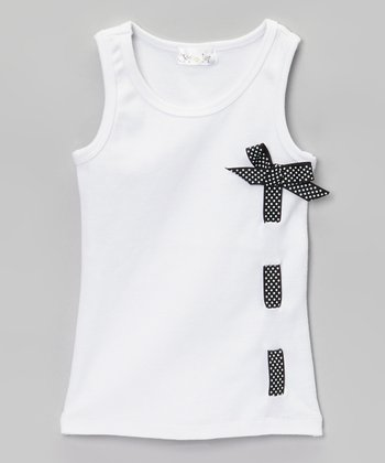 White & Black Polka Dot Ribbon Tank - Infant & Girls