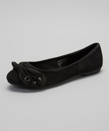 Black Zipper Bow Flat