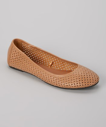 Tan Perforated Ballet Flat