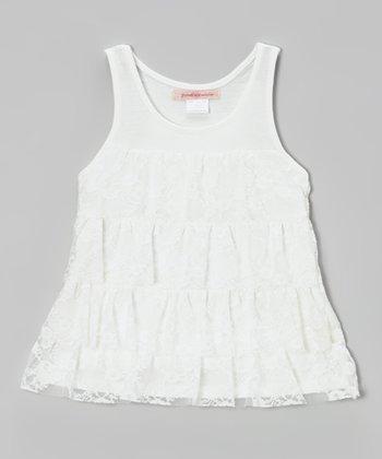 Paulinie White Lace Tank - Toddler & Girls