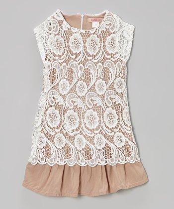 Paulinie Beige Lace Cap-Sleeve Tunic - Toddler & Girls