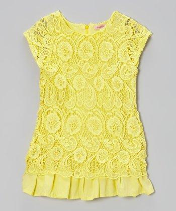 Paulinie Yellow Lace Cap-Sleeve Tunic - Toddler & Girls