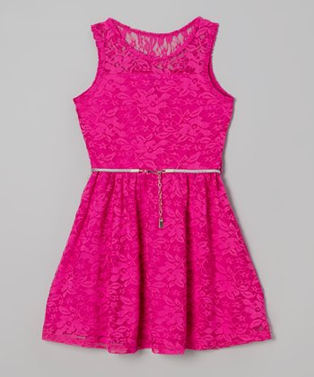 Bright Fuchsia Lace Belted A-Line Dress - Toddler