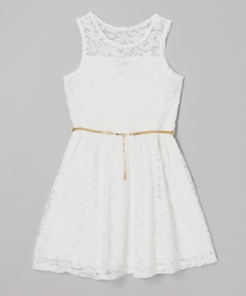 White Lace Belted A-Line Dress - Toddler