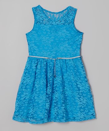Blue Lace Belted A-Line Dress - Toddler