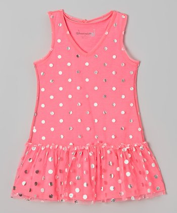 Bright Pink & Silver Dot Drop-Waist Dress - Toddler & Girls