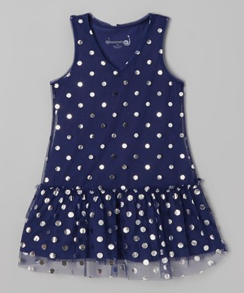 Navy & Silver Dot Drop-Waist Dress - Toddler & Girls