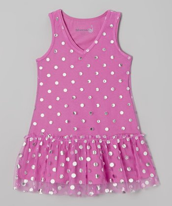 Orchid & Silver Dot Drop-Waist Dress - Toddler & Girls