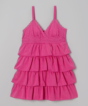 Bright Fuchsia Ruffle Babydoll Dress - Toddler & Girls