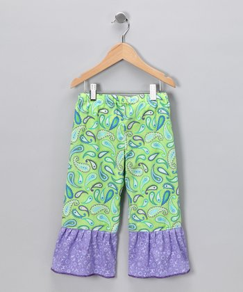 Green Paisley Amelia Ruffle Pants - Infant, Toddler & Girls