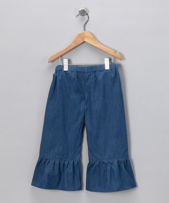 Blue Denim Ruffle Pants - Infant, Toddler & Girls