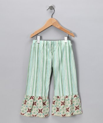 Green Stripe Fandango Ruffle Pants - Infant, Toddler & Girls