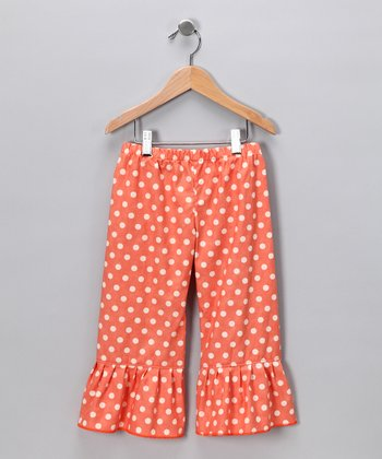 Peach Polka Dot Ruffle Pants - Infant, Toddler & Girls