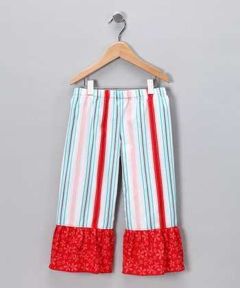 Red Sugar & Spice Stripe Ruffle Pants - Infant, Toddler & Girls