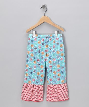 Turquoise Amelia Ruffle Pants - Infant, Toddler & Girls