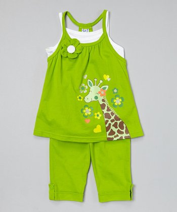 Lime Giraffe Tunic & Capris - Toddler & Girls