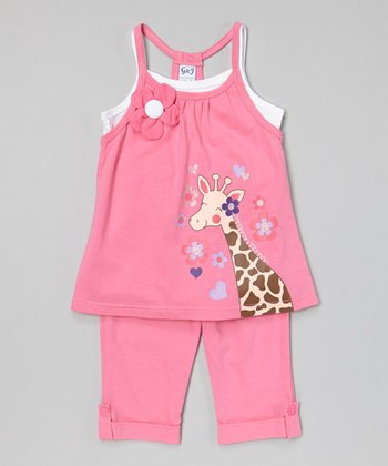 Pink Giraffe Tunic & Capris - Toddler & Girls