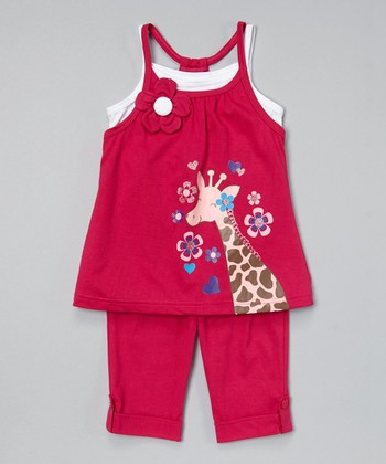 Fuchsia Giraffe Tunic & Capris - Toddler & Girls