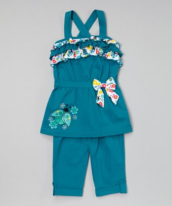 Teal Ladybug Ruffle Tunic & Capris - Infant, Toddler & Girls