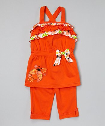 Orange Ladybug Ruffle Tunic & Capris - Infant, Toddler & Girls