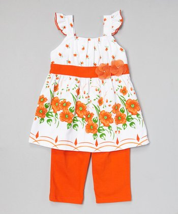 Orange Floral Tunic & Capris - Infant, Toddler & Girls