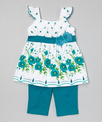Teal Floral Tunic & Capris - Infant, Toddler & Girls
