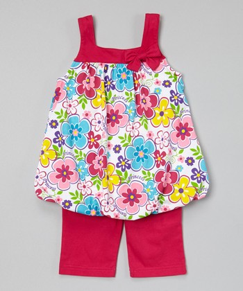 Fuchsia Floral Bubble Tunic & Capris - Infant, Toddler & Girls