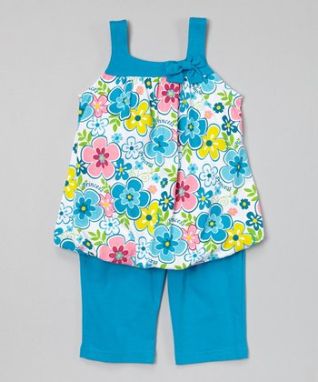 Turquoise Floral Bubble Tunic & Capris - Infant, Toddler & Girls