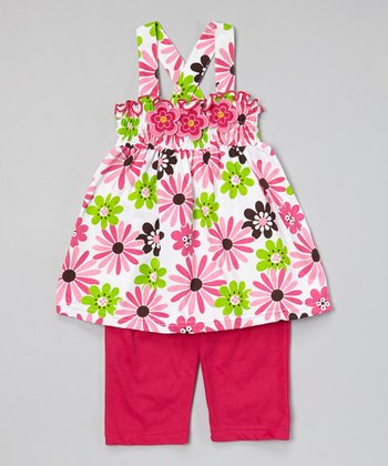 Fuchsia Cross-Back Tunic & Capris - Infant, Toddler & Girls