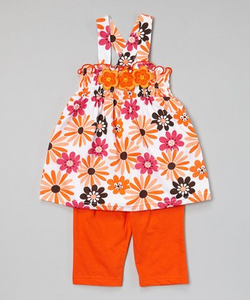 Orange Cross-Back Tunic & Capris - Infant, Toddler & Girls