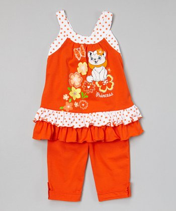Orange Cat Ruffle Tunic & Capris - Toddler & Girls