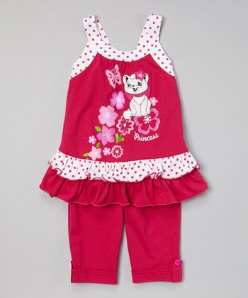 Fuchsia Cat Ruffle Tunic & Capris - Toddler & Girls