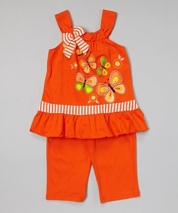 Orange Butterfly Tunic & Capris - Toddler & Girls