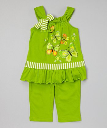 Lime Butterfly Tunic & Capris - Toddler & Girls