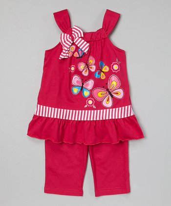Fuchsia Butterfly Tunic & Capris - Toddler & Girls