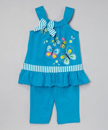 Turquoise Butterfly Tunic & Capris - Toddler & Girls