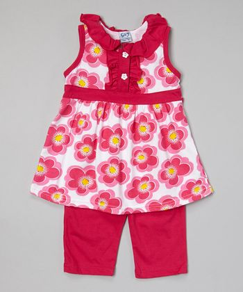 Fuchsia Floral Button Tunic & Capris - Toddler & Girls