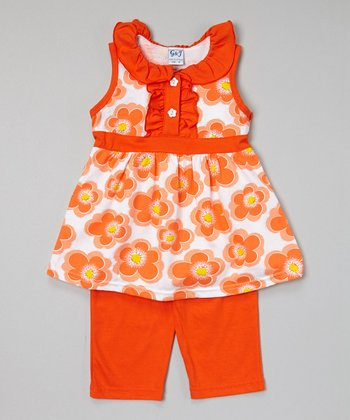 Orange Floral Button Tunic & Capris - Toddler & Girls