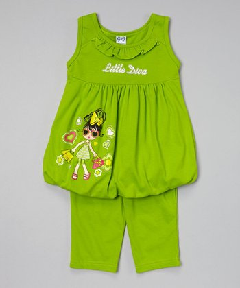 Lime 'Diva' Bubble Tunic & Capris - Toddler & Girls