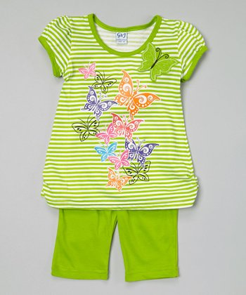 Lime Stripe Tunic & Capris - Toddler & Girls
