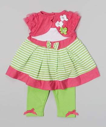 Green & Fuchsia Stripe Layered Top & Leggings - Infant