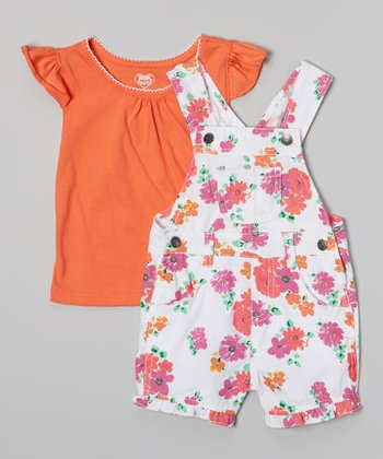 Orange Angel-Sleeve Tee & Floral Shortalls - Toddler & Girls