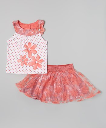 Orange Polka Dot Flower Yoke Top & Sequin Skirt - Girls