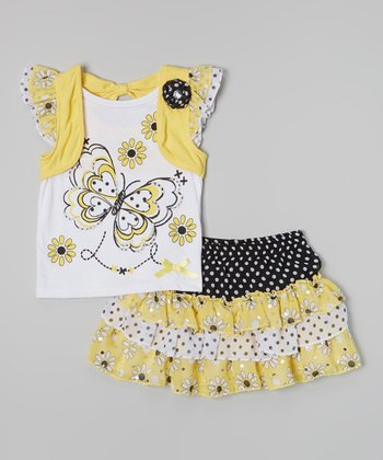 Yellow Butterfly Layered Top & Ruffle Tiered Skirt - Girls
